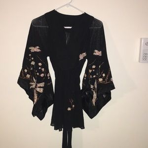 Black sheer Embroidered Asian style Blouse